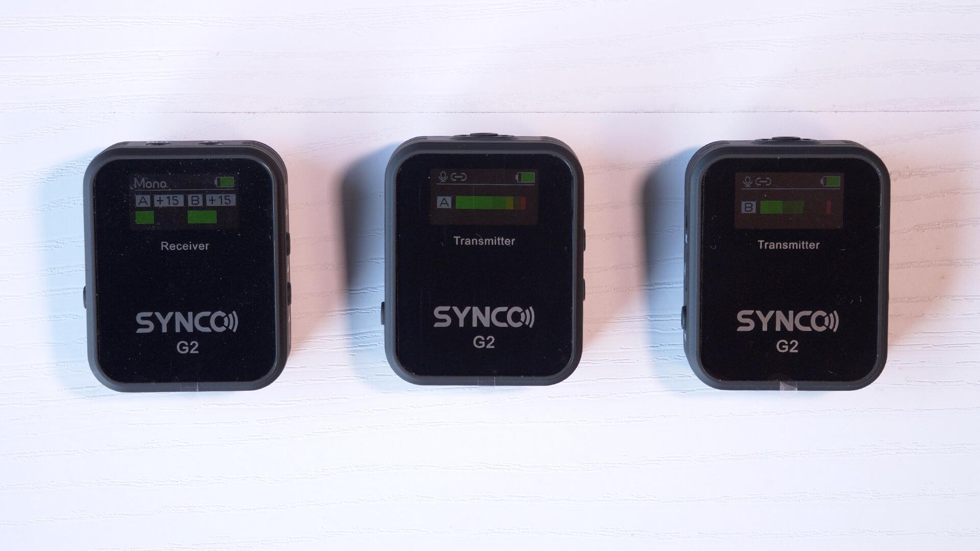 SYNCO G2(A2) 受信機のTFTスクリーン